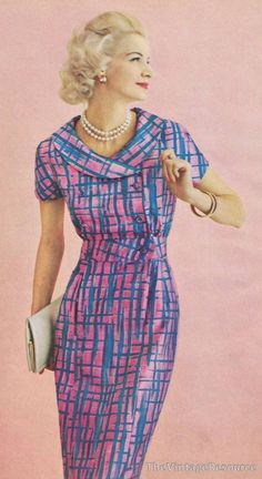 Sunny Harnett 1959 late 50s early 60s day dress mcm graphic print pink blue short sleeves summer round double breasted neckline supermodel color photo print ad