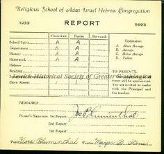Flora Blumenthal's report card from Adas Israel Religious School, Washington, D.C. 1933