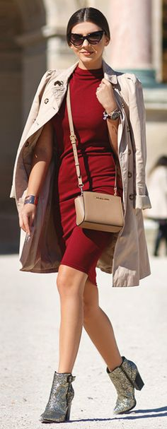 Super cute mini trench + gorgeous example of the trench coat franchise + Larisa Costea + stylish and feminine + beige coat + some glammy glittery heels + classic scarlet dress   Dress: AX Paris, Trench Coat: Zara, Bag: Michael Kors, Boots: Little Mistress.