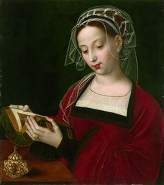 'The Magdalen Reading' by Italian Northern Renaissance painter Ambrosius Benson Oil on panel. via the National Gallery Costume Renaissance, Renaissance Kunst, Renaissance Fashion, Italian Renaissance, Renaissance Artists, Reading Art, Woman Reading, Reading Books, Bible Art