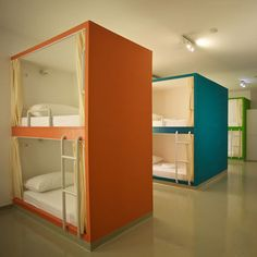 the bunk beds - great fun for kids room in summer house - Emanuel Hostel by Lana Vitas Gruic Loft Spaces, Small Spaces, Dormitory Room, Sleeping Pods, Capsule Hotel, Modern Bunk Beds, Bunk Rooms, Bedrooms, Bunk Bed Designs