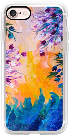 Casetify iPhone 7 Classic Grip Case - WHATEVER MAY COME - Pretty Purple Blue Yellow Orange Pink Abstract Floral Nature Flowers ocean Waves Splash Swirls Bold Colorful Painting by Ebi Emporium #Casetify