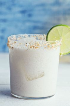 Recipe including course(s): Side; and ingredients: coconut, coconut cream, ice, lime, lime juice, liqueur, tequila