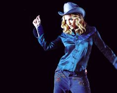 "00's fashion - Madonna's cow girl look in her ""Don't Tell Me"" video."