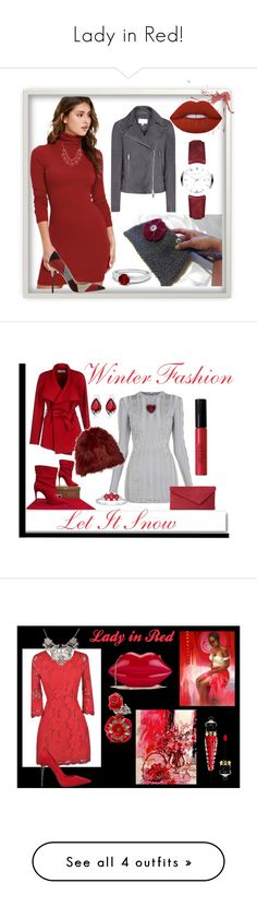 """""""Lady in Red!"""" by nadiasknits ❤ liked on Polyvore featuring Burberry, LULUS, Gianvito Rossi, Lime Crime, BGN, Balmain, Christian Louboutin, L.K.Bennett, White Label and Adrienne Landau"""