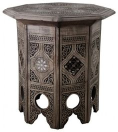 Oak octagon coffee table Enjoy coffee in style with this wonderful coffee table. It is made from Syrian carved wood and also has a beautiful mother of pearl detail. It is octagon in shape and stands at approximately high with a width of Oak Coffee Table, Cool Coffee Tables, Oak Table, Wooden Tables, Moroccan Side Table, Brown Furniture, Wood Furniture, Carving, Side Tables