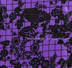 Black on purple background Day of the Dead Mexican oilcloth pattern