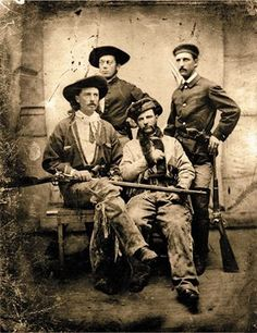 "Among the number of firearms Buffalo Bill Cody used throughout his colorful career, the one he held the highest in esteem was the 1866 Springfield .50-70 Allin conversion single-shot rifle he employed in buffalo hunts during his early scouting days (he holds it in his lap). Although others knew the rifle as the ""needle gun,"" due to its long firing pin, Cody called his ""Lucretia Borgia."" Like the famous Renaissance femme fatale, she was ""beautiful, but deadly."""