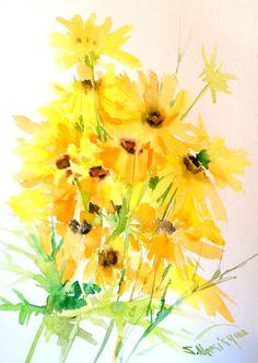 Yellow GArden flowers original watercolor painting by ORIGINALONLY