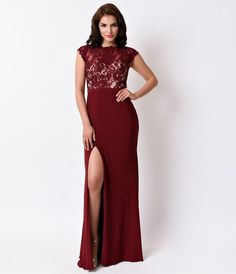Burgundy Red Sexy Fitted Lace Cap Sleeves Long Dress 2016 Prom Dresses
