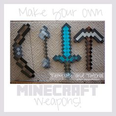Lady Goats: Make Your Own Minecraft Weapons (Tutorial and Template). If I really need to make them, but I could just buy one from the store and buy a Steve head while I'm there. Minecraft Party, Minecraft Costumes, Minecraft Sword, Minecraft Crafts, Minecraft Skins, Minecraft Halloween Costume, Halloween Costumes, Minecraft Room Decor, Minecraft Cake