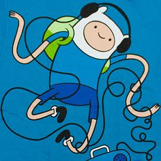 Blue Adventure Time wallpaper of Finn <3 One of my favorite cartoons
