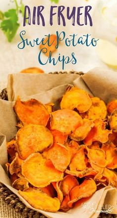 I am sure we all have a weakness or two with things we crave to eat. Mine is chips. That's why I love this Air Fryer Sweet Potato Chip recipe! Healthy snacks!