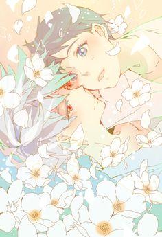 here is an adorable yaoi anime wallpaper. It shows Shinji and the yaoi angel boy Kaworu. Both do look cute together.