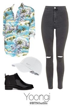 """""""Fire MV: Yoongi"""" by btsoutfits ❤ liked on Polyvore featuring Yves Saint Laurent, Topshop, NIKE and ASOS"""