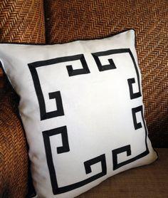 20 Greek Key Aegean Fretwork White Linen and Black by thfabricate, $85.00