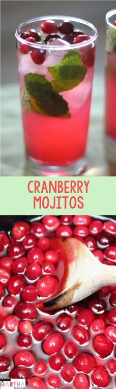 Cranberry Mojitos (to make Low-Carb use Swerve instead of sugar in the Cranberry Simple Syrup): The perfect holiday cocktail packed with cranberries and mint | wearenotmartha.com