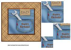 Denim Pocket Pramid Card Dad Birthday on Craftsuprint - Add To Basket!