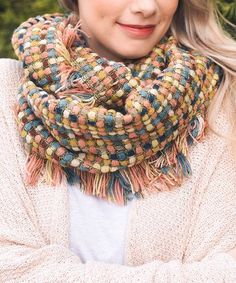 Another great find on #zulily! Pink & Blue Frayed Infinity Scarf #zulilyfinds
