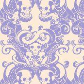 Skull & Tentacle in pale lavender & cream by damousey, Spoonflower digitally printed wallpaper
