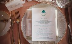 Dinner menu and place cards for Jessica & James