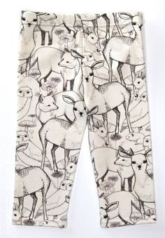 Salt City Emporium Animal Faces print children leggings, modern organic, baby leggings, hipster kid