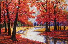 Red Fall Season - Embroidery oil painting / cross stitch canvas art / wall decor in Art, Crafts | eBay