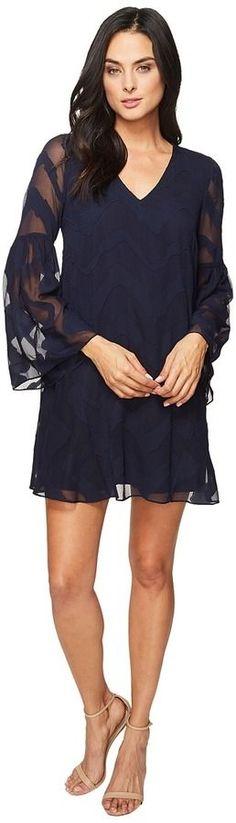 Donna Morgan Bell Sleeve Chiffon Jacquard Tent Dress