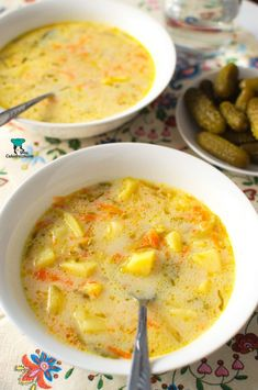 Zupa ogórkowa Polish Recipes, Polish Food, Tortellini, Cheeseburger Chowder, Soup Recipes, Good Food, Food And Drink, Dinner, Cooking