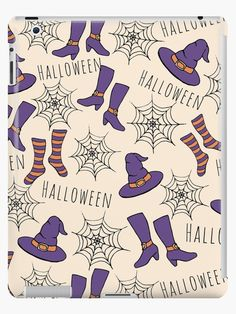 Witchy Halloween Pattern iPod Case by Anastasia Shemetova #faerieshop #wicca #painting #sketch #magic #socks #witch #witchcraft #pattern #purple #drawing #black #halloween #gothic #orange #hat #shoes #boots #art #illustration #cobweb #spider #web #magickal #stockings #redbubble #accessories #case #iPod