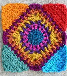 Transcendent Crochet a Solid Granny Square Ideas. Inconceivable Crochet a Solid Granny Square Ideas. Mandala Au Crochet, Crochet Motif, Crochet Stitches, Crochet Hooks, Knit Crochet, Crochet Patterns, Crochet Coaster, Motifs Granny Square, Granny Square Crochet Pattern