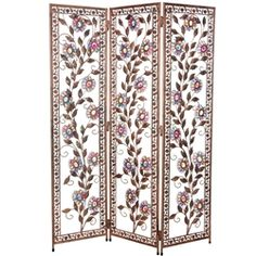 4 1/2 ft. Tall Vines of Ivory and Flowers Beaded Decorative Folding Screen