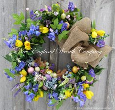 Easter Wreath Easter Bunny Wreath Spring by NewEnglandWreath