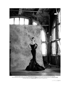 Suzie Bird | Evening gown by Donna Karan, glove by Carolina Amato | Photog: Thomas Whiteside | Elle (US) January 2012