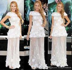 Cap Sleeve Lace Appliques Couture Celebrity Dresses Long  Party Gowns Custom