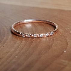 14K Pink Gold Pave Diamond Ring 14K Stacking by TwoFeathersNY