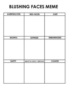Drawing Tips blushing faces meme from PIXIV by miimiiakatsuki on DeviantArt - Drawing Meme, Drawing Prompt, Drawing Poses, Drawing Tips, Art Style Challenge, Drawing Challenge, Bakemono No Ko, Expression Challenge, Blushing Face
