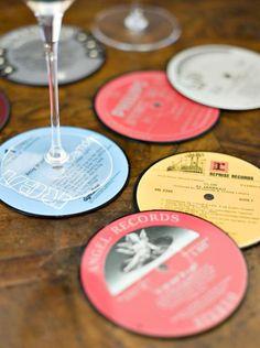 Porta copos de Disco de Vinil