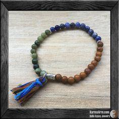 Om Prayer Wheel Mala Bracelet: Sodalite + Rainforest + Tigerskin Jasper