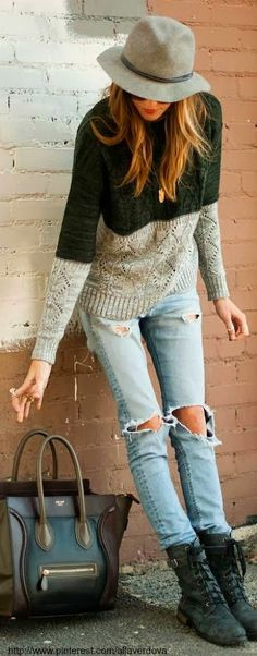 Green & Grey Sweater With Hat and Ripped Jeans