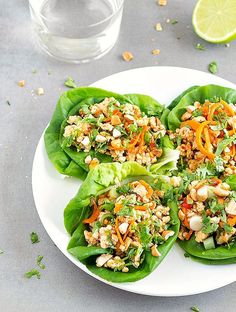 These Healthy Asian Chicken Lettuce Wraps are perfect for a quick and easy lunch or dinner or even as a tasty appetizer. Ready in 15 minutes!
