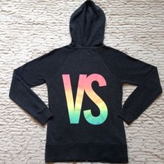 VS Fleece Hoodie Victoria's Secret fleece hoodie Size Small Charcoal Grey with Rainbow graphic Worn maybe once or twice Still soft inside Ships usps Victoria's Secret Sweaters