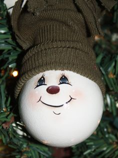 Hand Painted Snowman Light Bulb Ornament by TracysCrtns on Etsy, $11.00