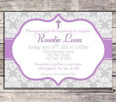 Girl Baptism Invitation, Purple Lilac Cross, First Communion, Christening Invite, Confirmation Invitation, Grey Damask Printable File by PrintablePartybyFinn on Etsy