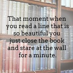 That moment when you read a line that is so beautiful you just close the book and stare at the wall for a minute.