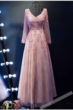 Pink tulle see-through long sleeves lace applique long prom dress