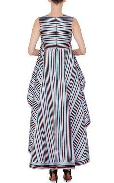 Striped Cascading Peplum Top by NATASHA ZINKO Now Available on Moda Operandi