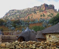 The sacred mountain and cultural village outside Maseru, Lesotho. People Around The World, Around The Worlds, Sacred Mountain, Beautiful World, Hello Beautiful, Like A Local, African Culture, Ancient Architecture, Africa Travel