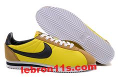 Frees30.com 1/2 price nikes Cortez,$58.76 Nike Classic Cortez Nylon Yellow Black White