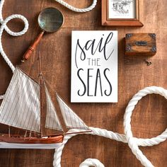 Sail the Seas. Brush lettering by Sarah Ward, Photography and Styling by Austin Tott